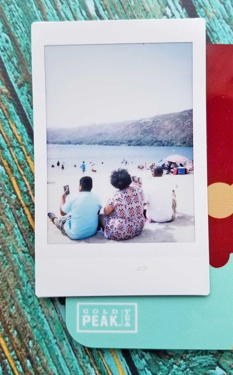 picture of instant camera photo at lake
