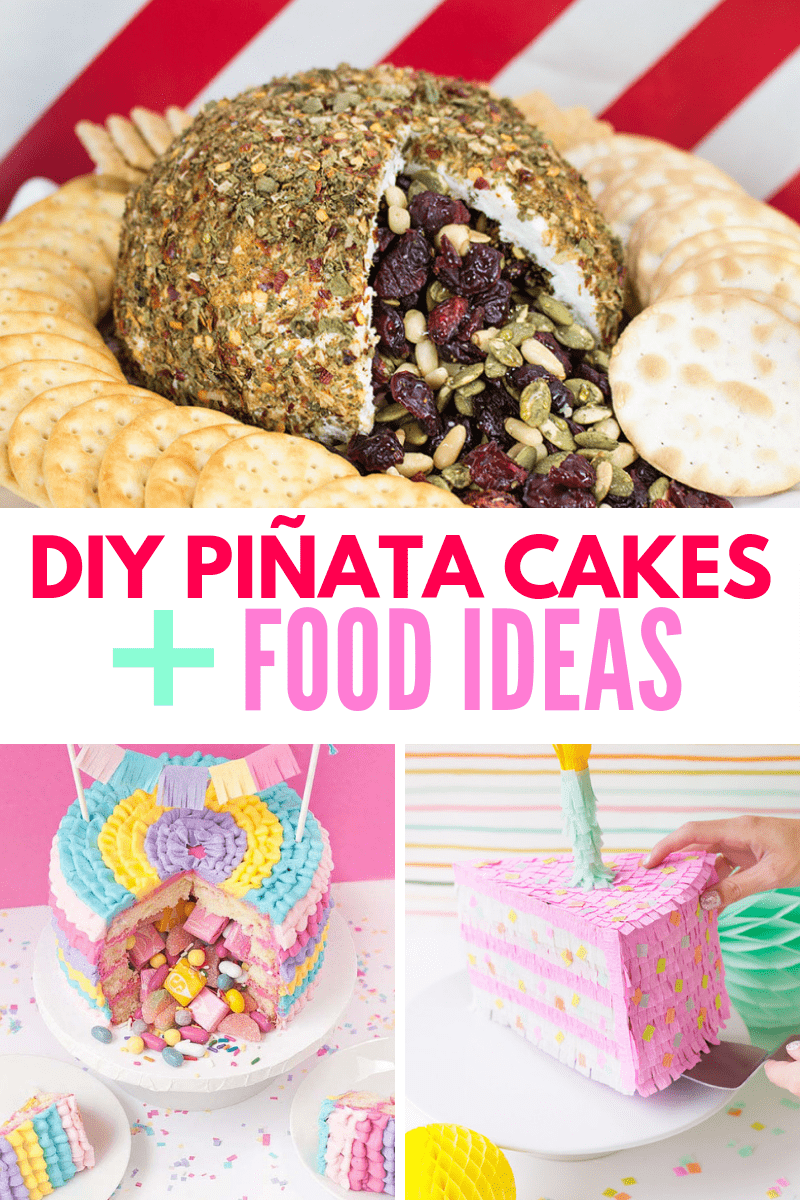 Pinata cakes and food ideas collage