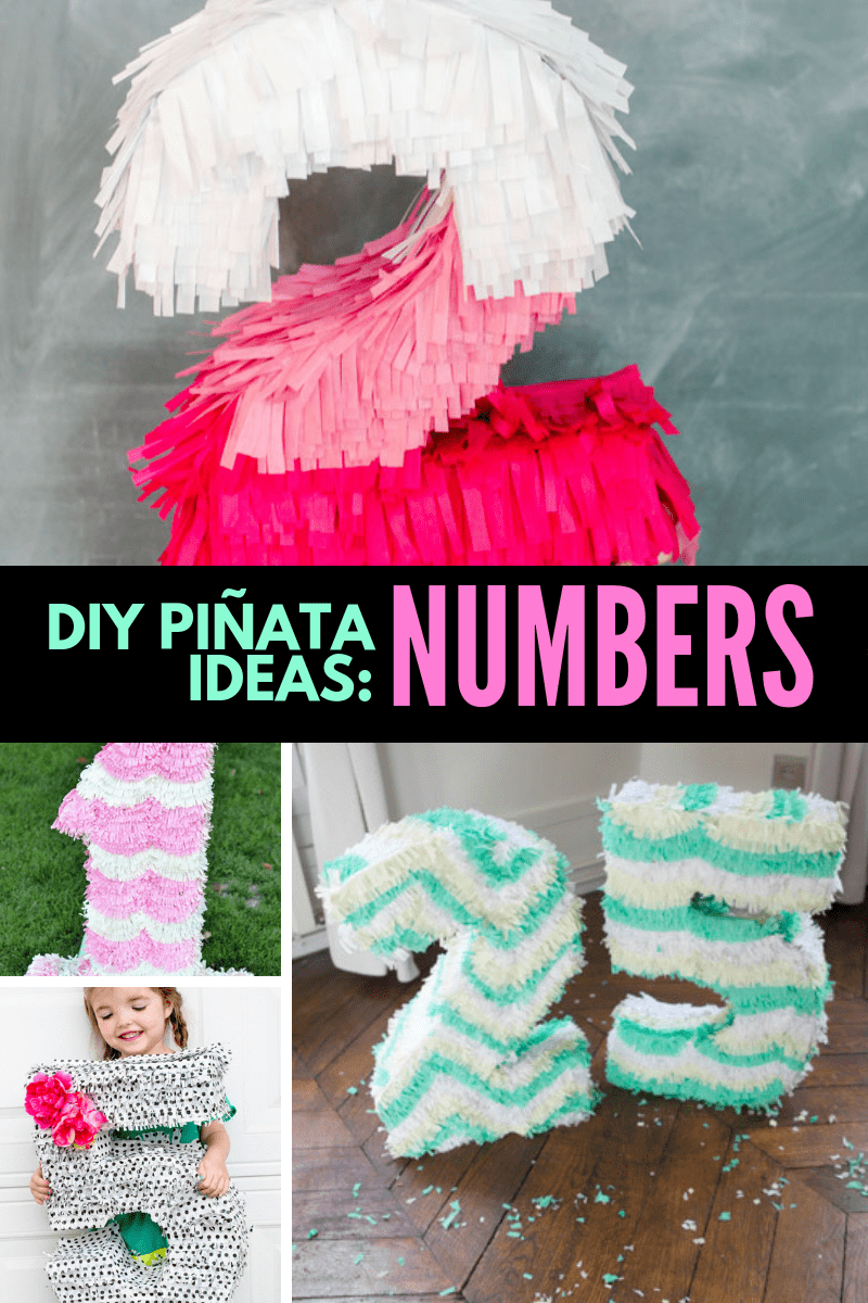 DIY Number Pinatas Collage
