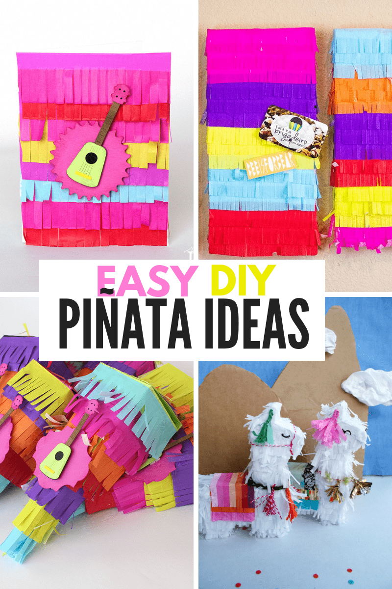 Collage of EASY DIY PINATAS
