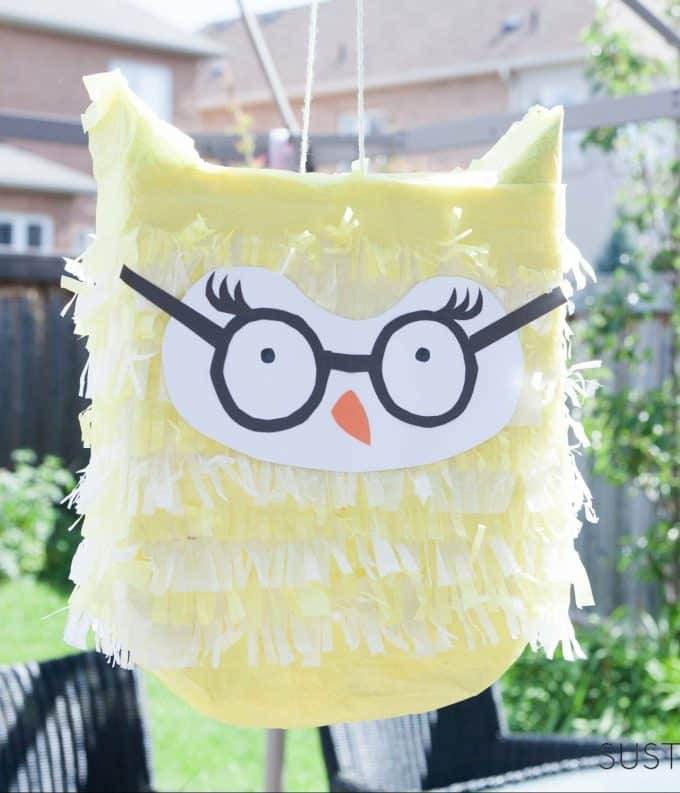 DIY owl pinata from cereal box