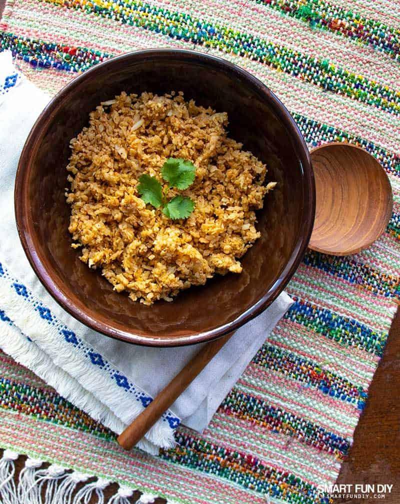bowl of keto Mexican cauliflower rice