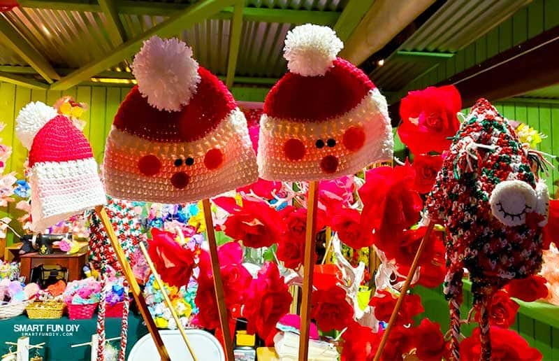 Crochet Hats at Christmas Crafts Village at Knott's Merry Farm