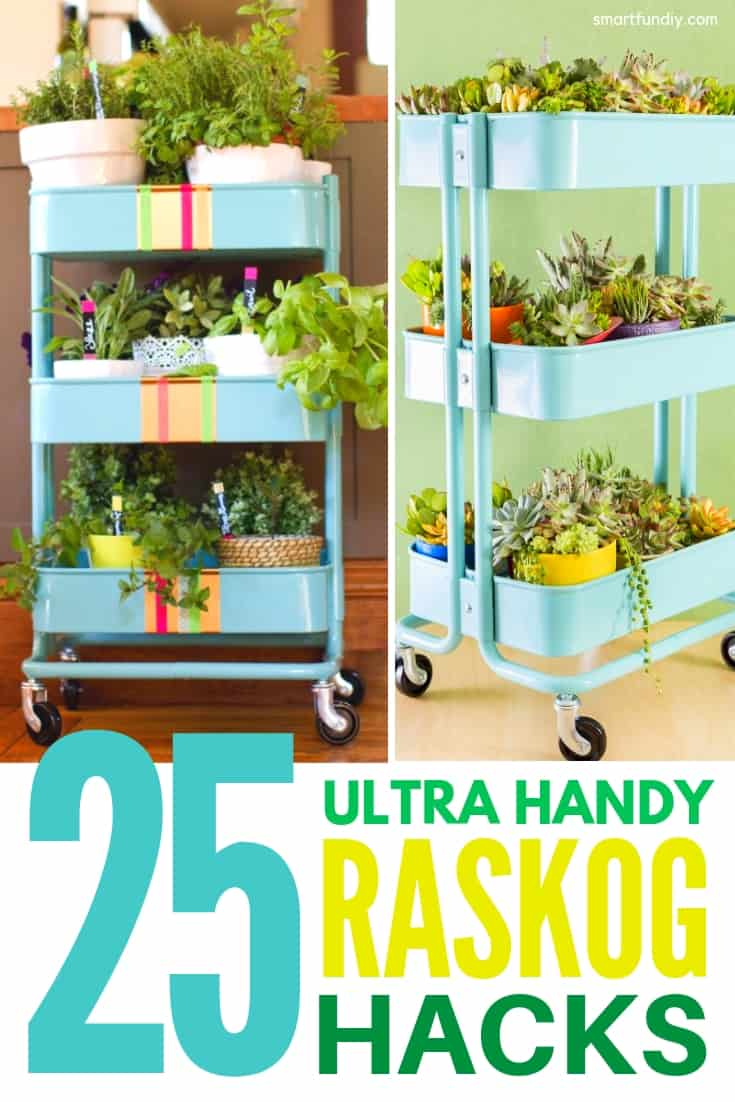 IKEA Raskog cart hacks collage graphic with 2 Ikea raskog carts filled with plants and graphic text saying 25 Ultra Handy Raskog Hacks