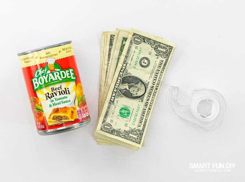 supplies to make money gift idea with canned food