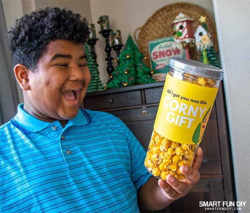 "popcorn ""corny"" gag gift idea"