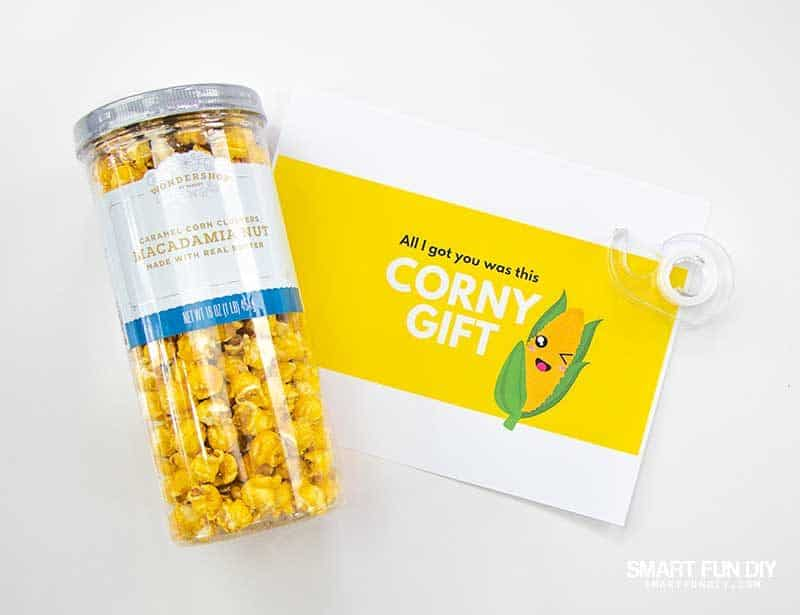 popcorn tube and label for corny gag gift idea