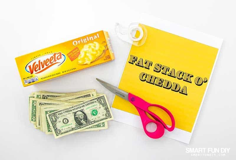 "supplies to make ""fat stack o chedda"" gag gift idea"