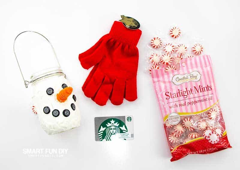 supplies to make mason jar snowman with candy and gift card inside