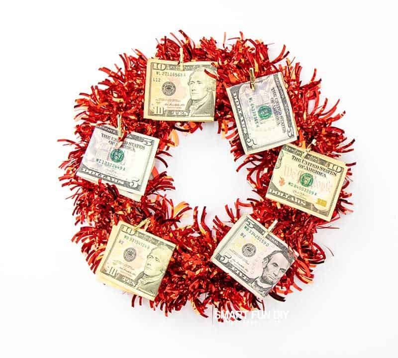 wreath with money on it