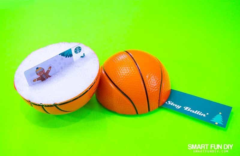 Stay ballin gag gift idea - foam basketball cut in half with a gift card inside