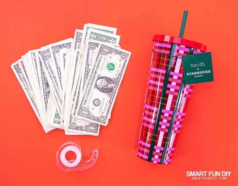 supplies for money hidden in drink cup cash gift idea