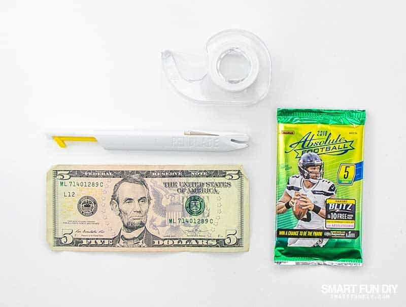 supplies to hide money gift in pack of baseball cards