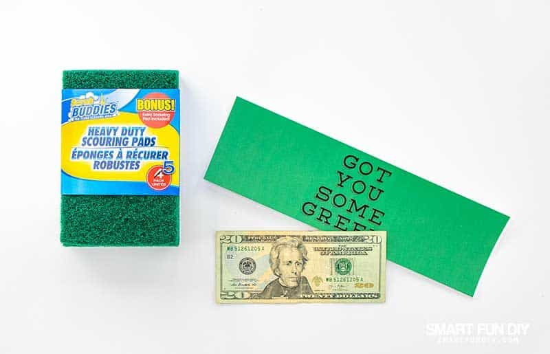 supplies to make green scrubbing pad cash gift idea