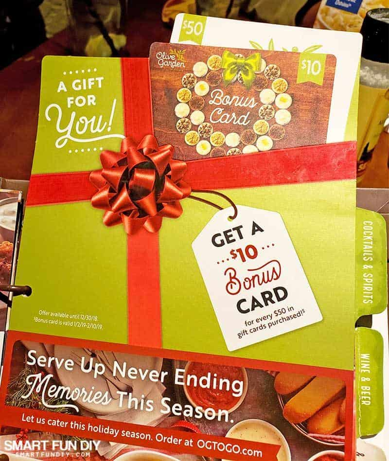 bonus gift card deal at Olive Garden