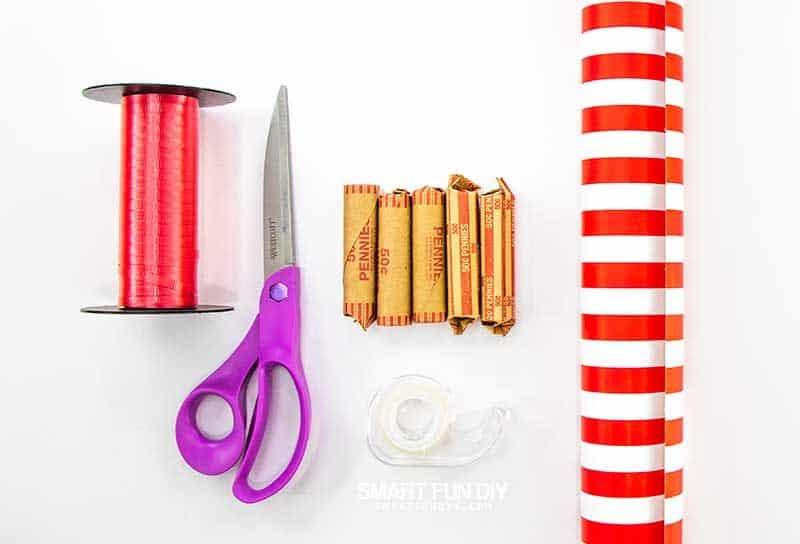 supplies to make decoy coin rolls money gift idea