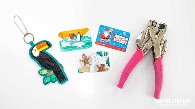 supplies to make gift card keyring gift idea