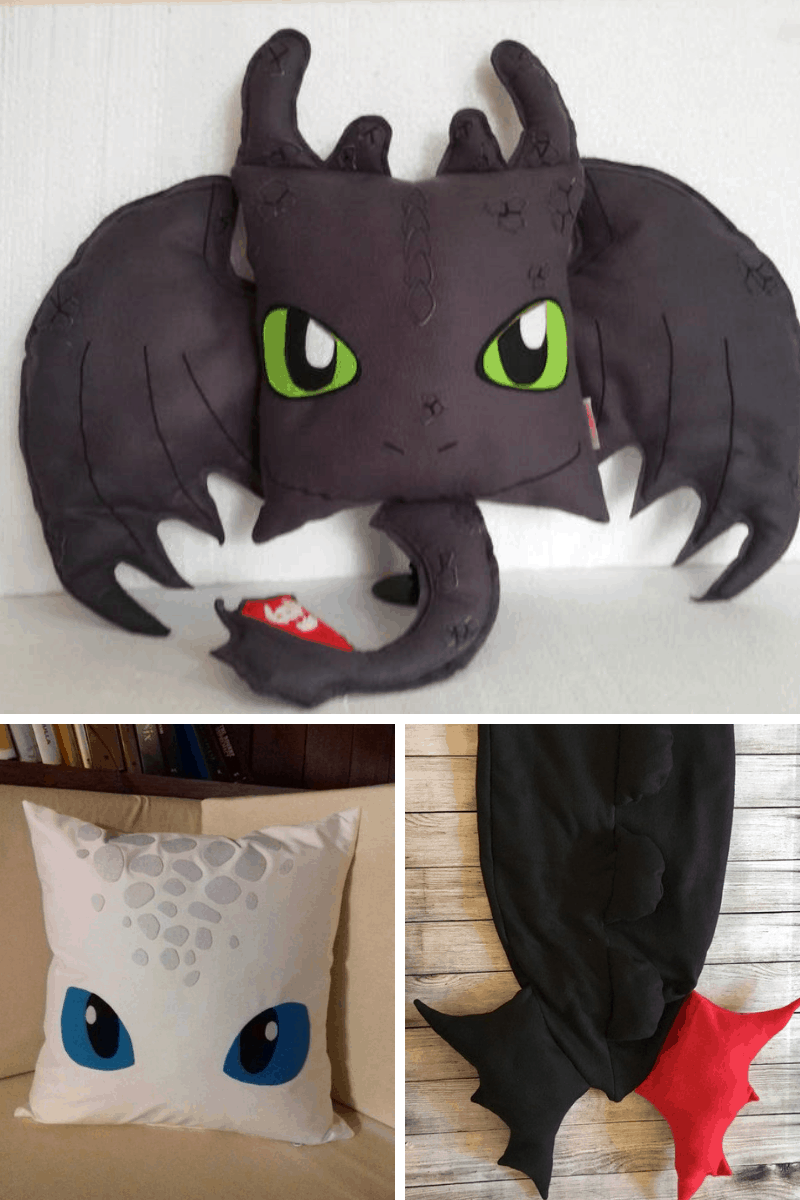 DIY Pillows and Blanket From HTTYD Collage