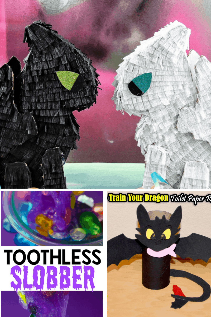 Collage of kids crafts from how to train your dragon