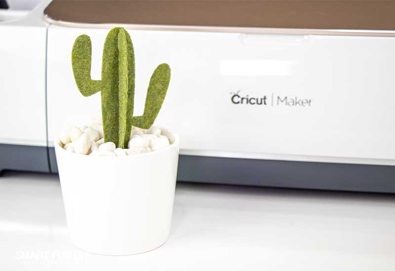 Felt cactus home decor craft created with Cricut Maker machine