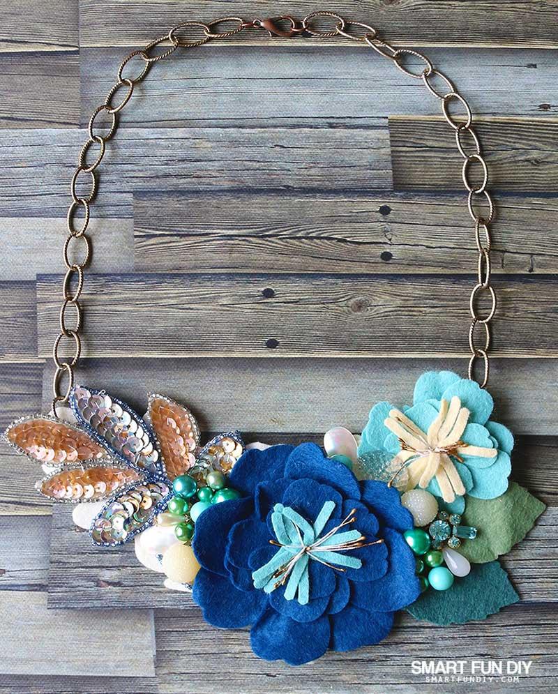 handmade bib necklace with felt flowers and vintage jewelry pieces by Jennifer Priest