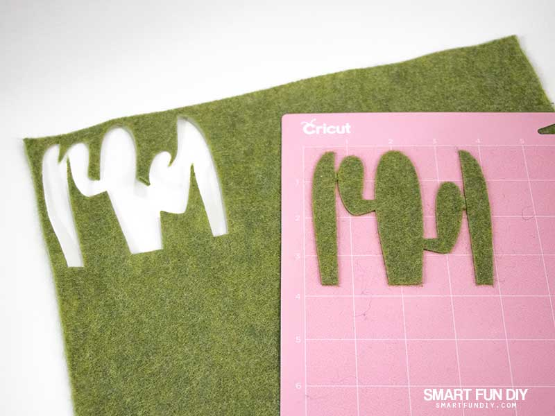 felt cactus cut with Cricut Maker machine, with cactus on Fabric Grip Mat