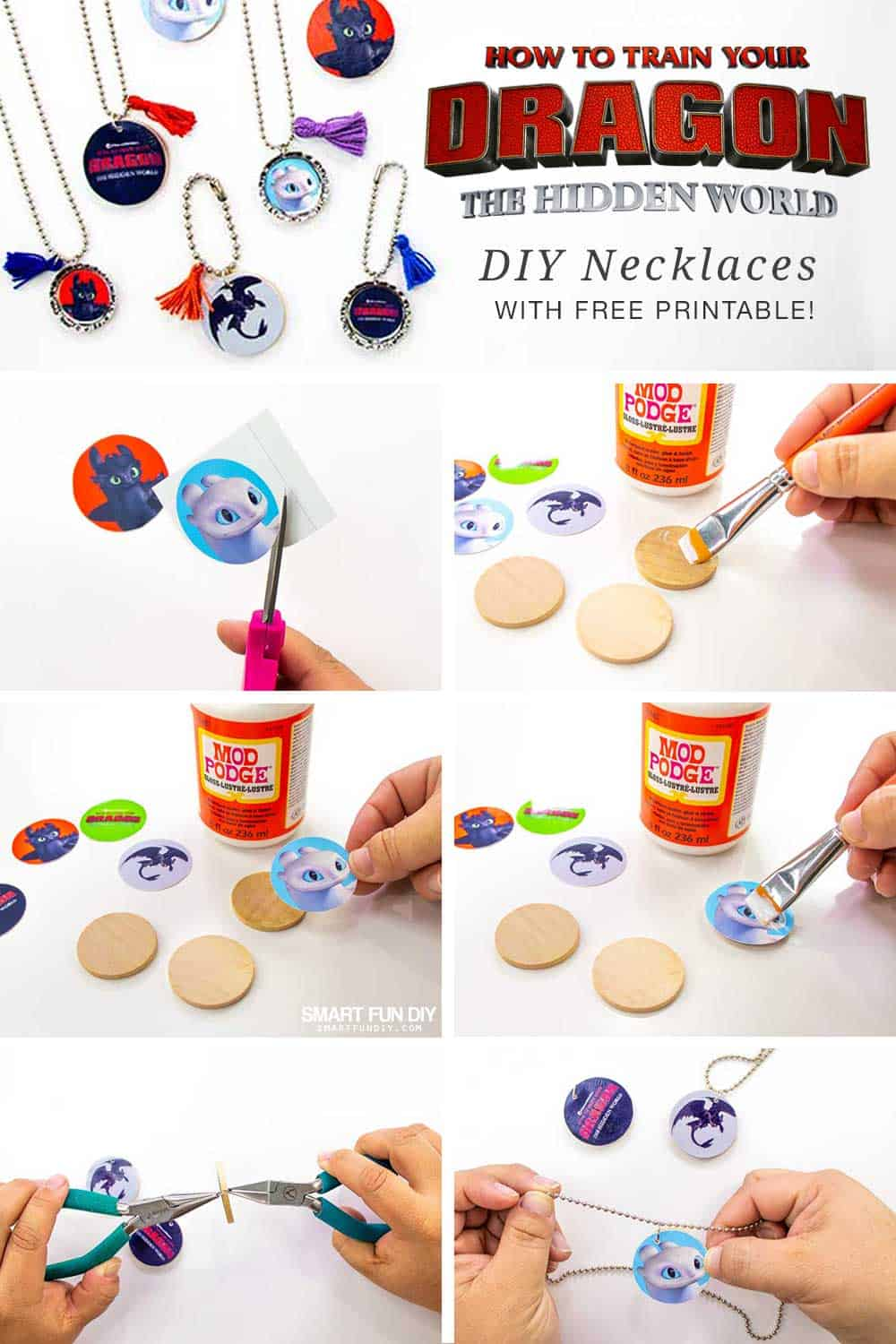 long pin graphic with steps to create neckalces using wood discs and free printables from How to Train Your Dragon movie