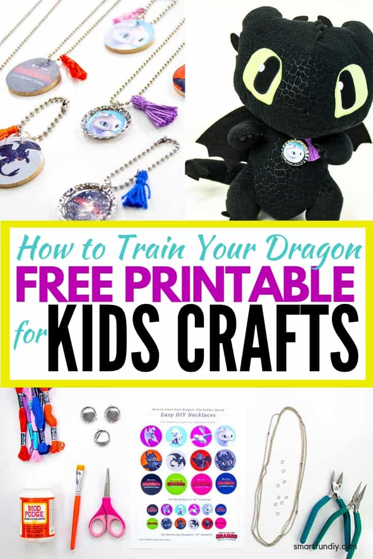 long pin graphic - collage of kids craft made with HTTYD printable and graphic in middle
