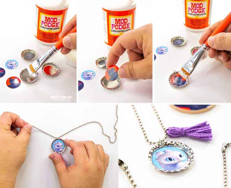 Step by step how to make a bottle cap necklace with ballchain, mod podge, and free printables for How to train Your Dragon movie