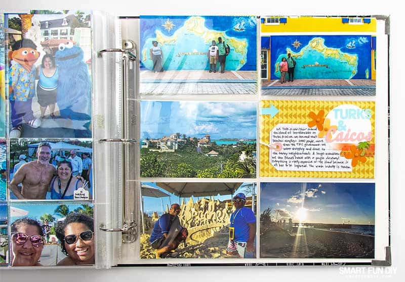 Pocket scrapbook page about Turks & Caicos with title cut with Cricut Maker from paper