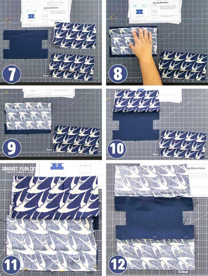 How to pin makeup bag pattern Cricut MAKER