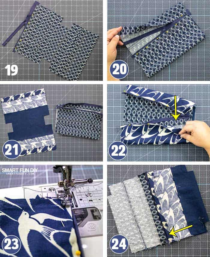 Steps to add Zipper to lined makeup bag with CRICUT MAKER