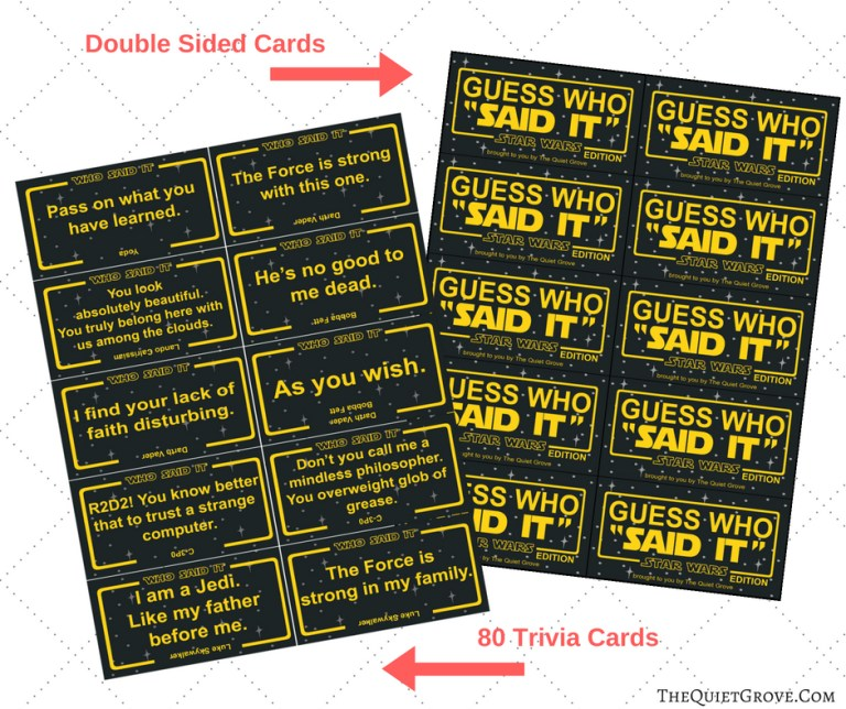 graphic of star wars guess who said it game printable cards