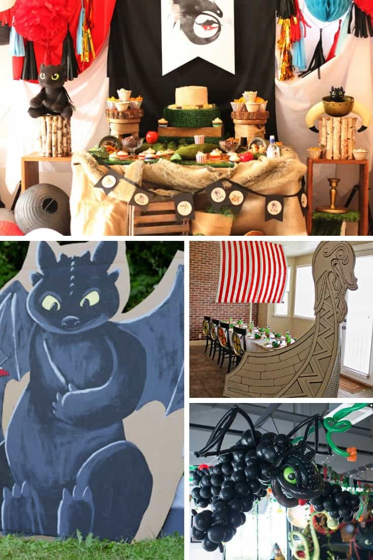 Collage of How to Train Your Dragon DIY party decorations