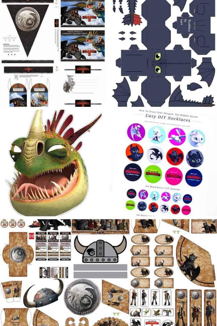 How to train Your Dragon movie printables collage