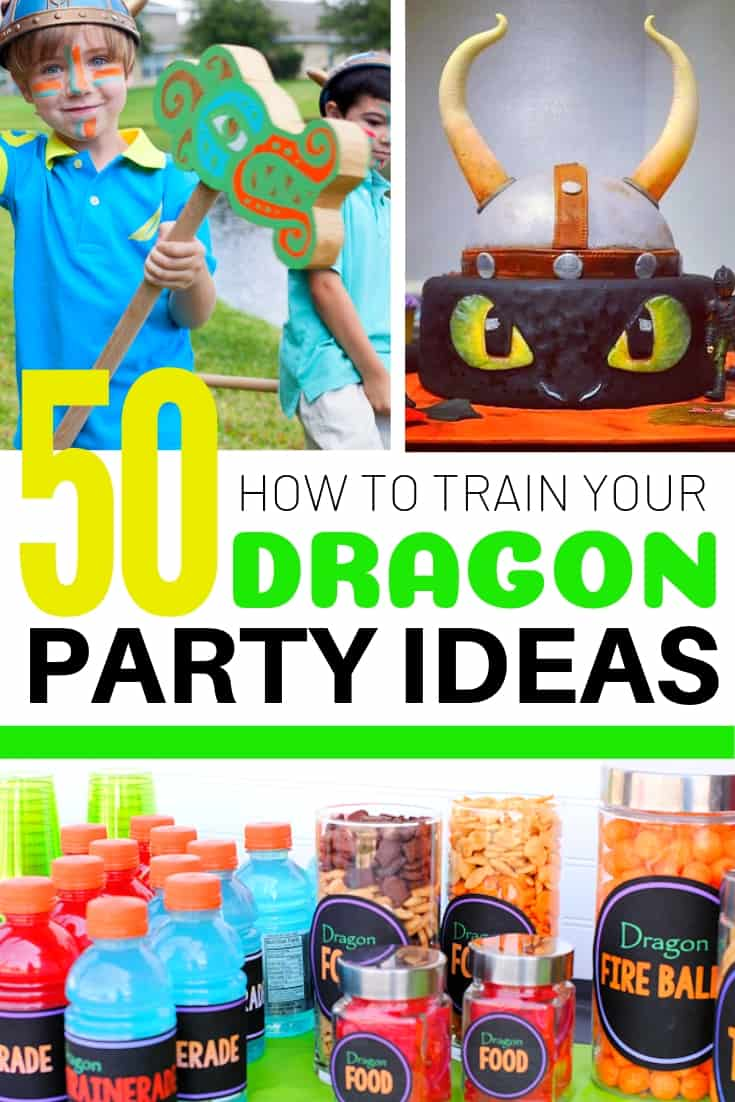 50 how to train your dragon party ideas collage graphic