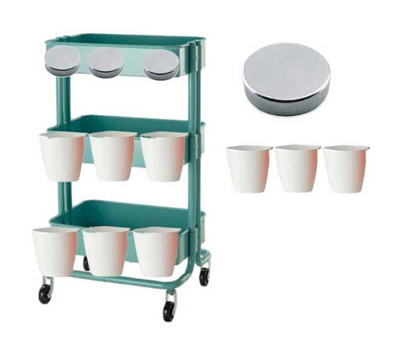 IKEA Raskog cart with cups mockup