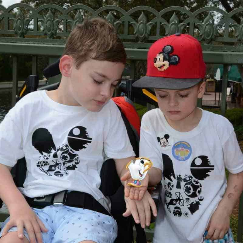 Kids wearing DIY Star Wars Mickey ears shirts