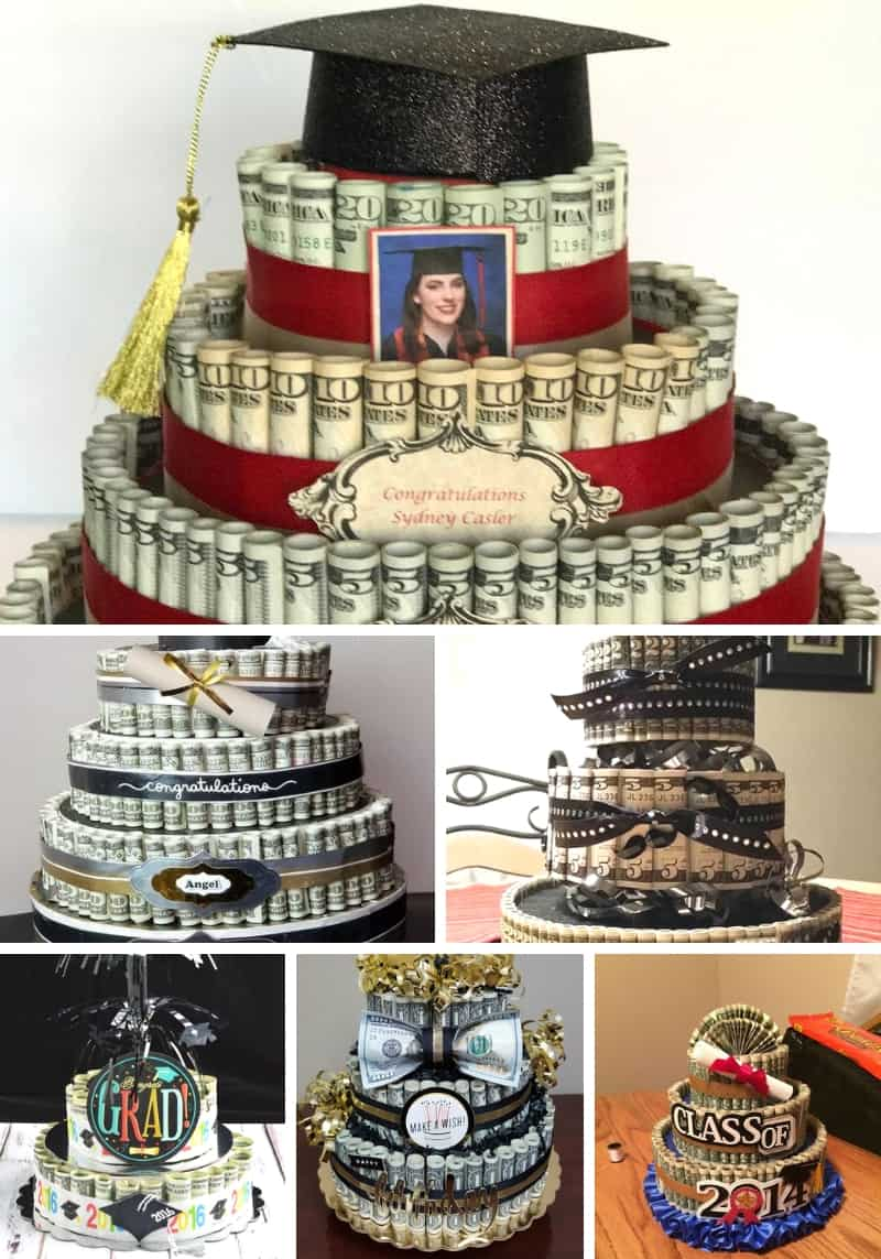 Graduation Money Cake Ideas Collage