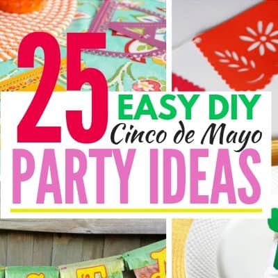 Collage image of papel picado and Cinco De Mayo Party supplies with text graphic in middle
