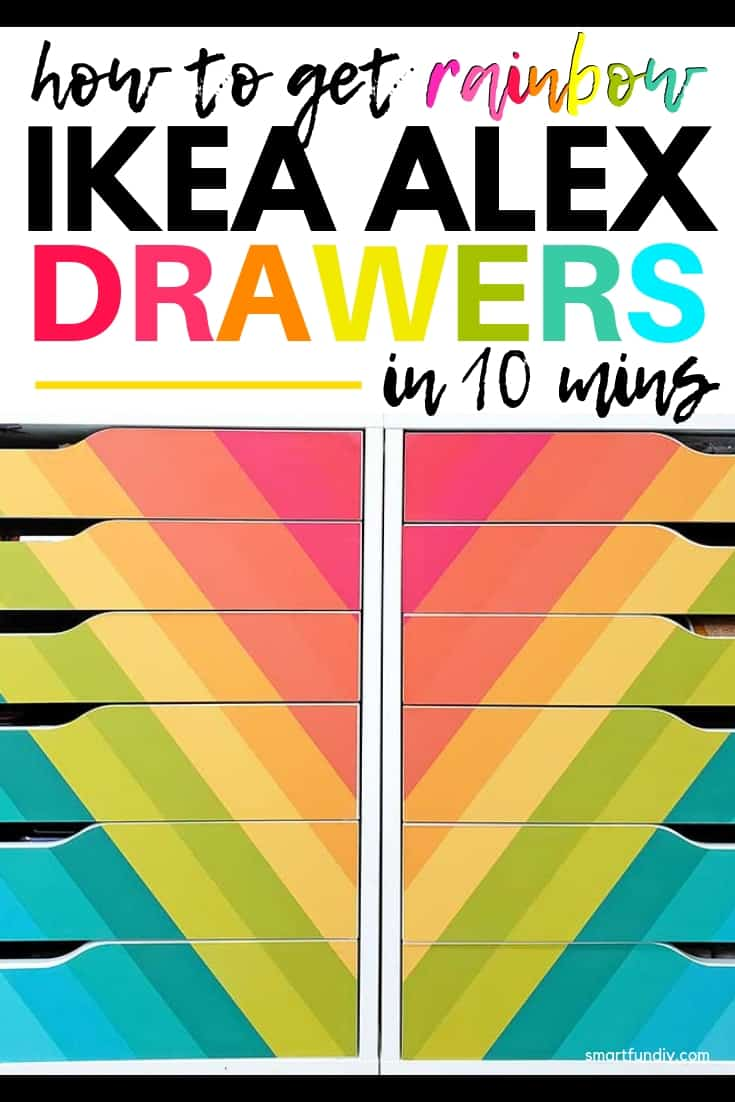 Pin graphic with text overlay and image of IKEA Alex drawers with rainbow decals