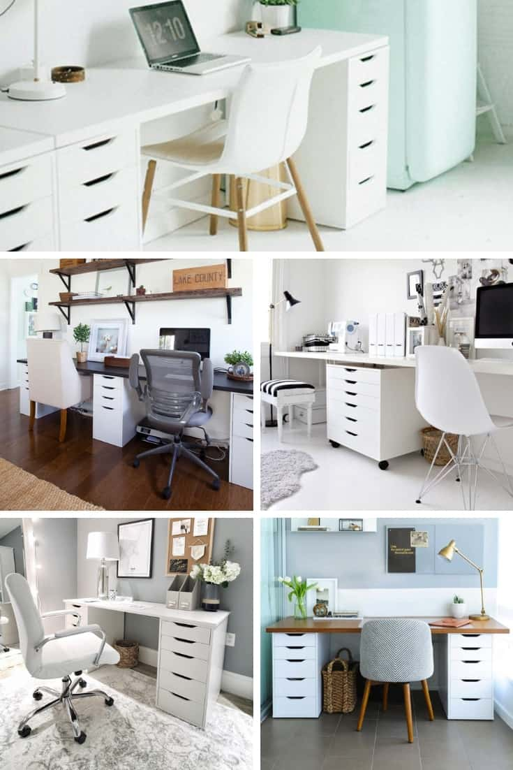 Collage of 5 examples of IKEA Alex Desks