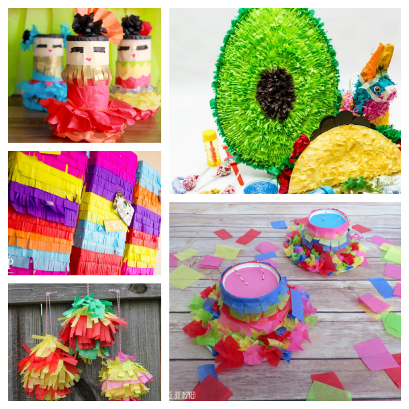 Collage of Pinata themed party decor ideas to DIY