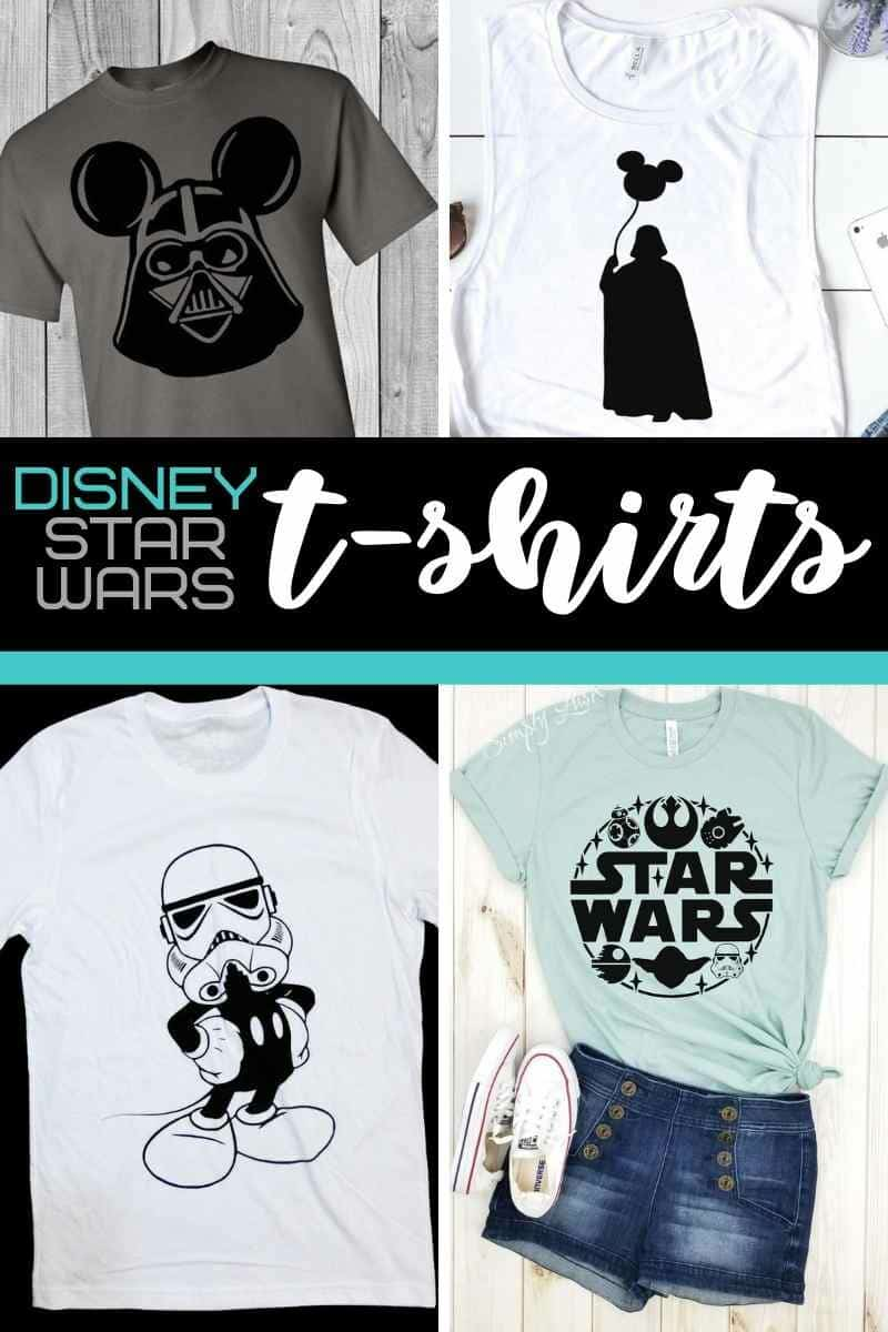 Collage of Star Wars Disney tshirts on etsy