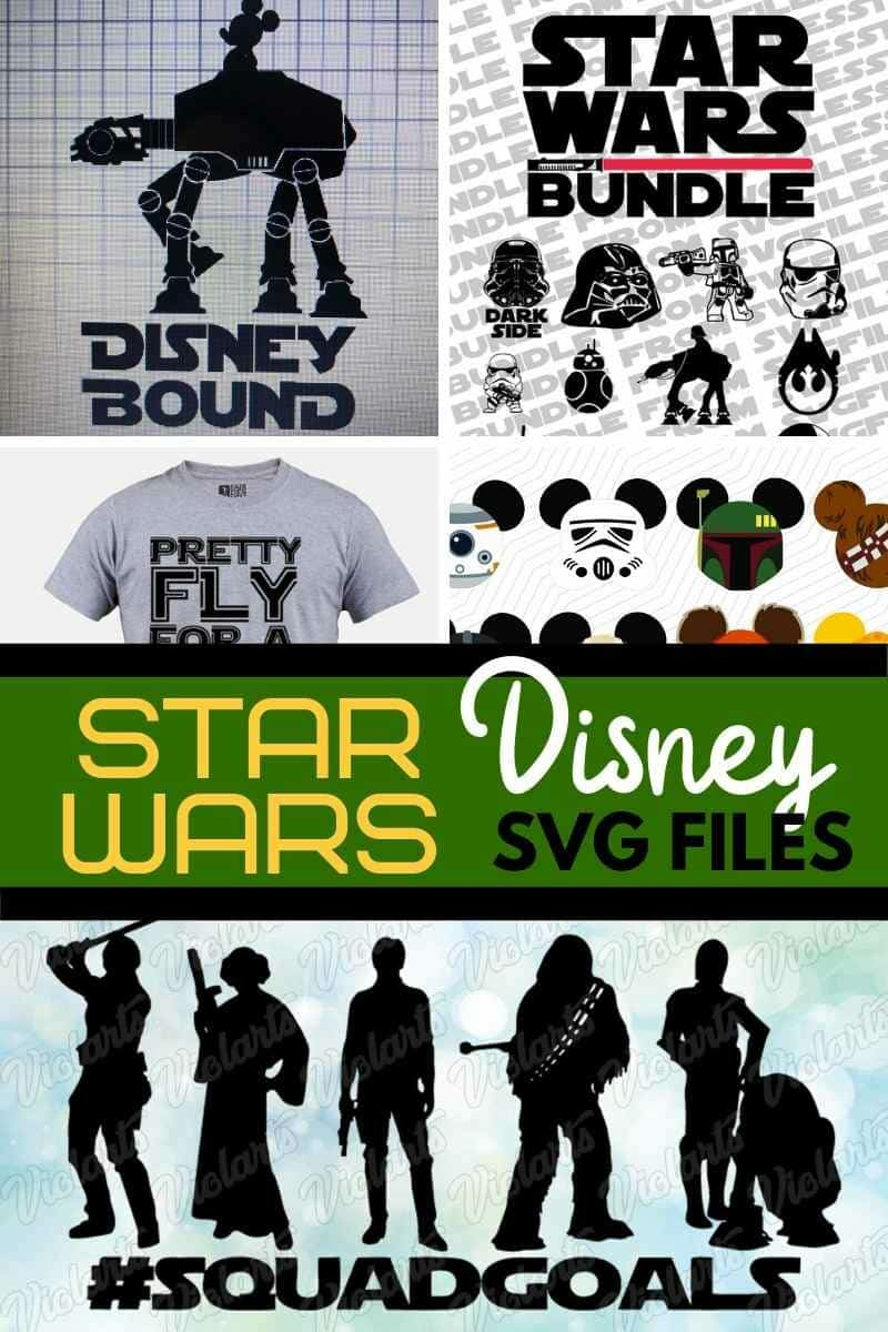Collage of Star Wars Disney svg files on etsy