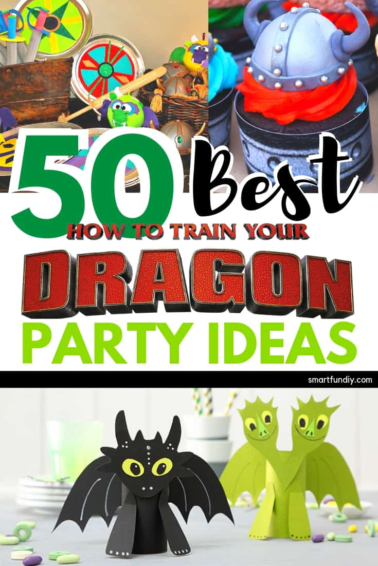 Collage of How to Train Your Dragon Party Ideas