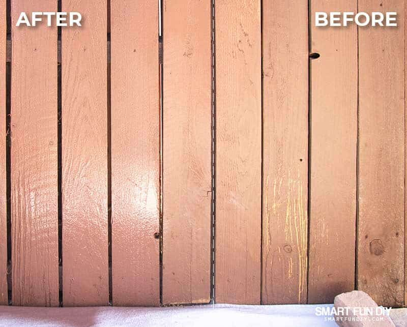 Before and After fence stain