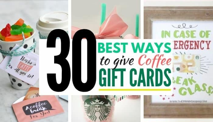 collage graphic of coffee gift card ideas