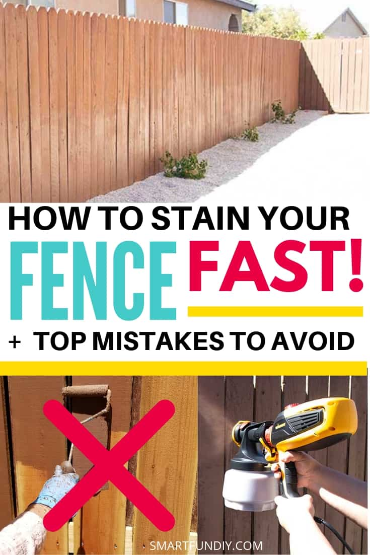 How to stain your fence fast - collage images with graphic text