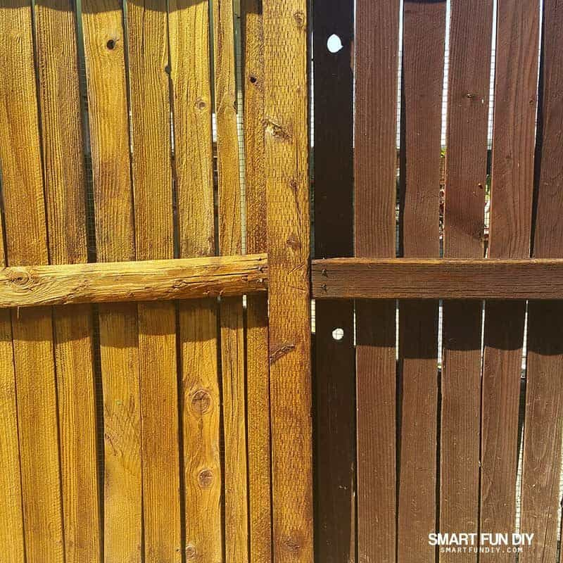 Stripped fenc eon left and stained fence on right